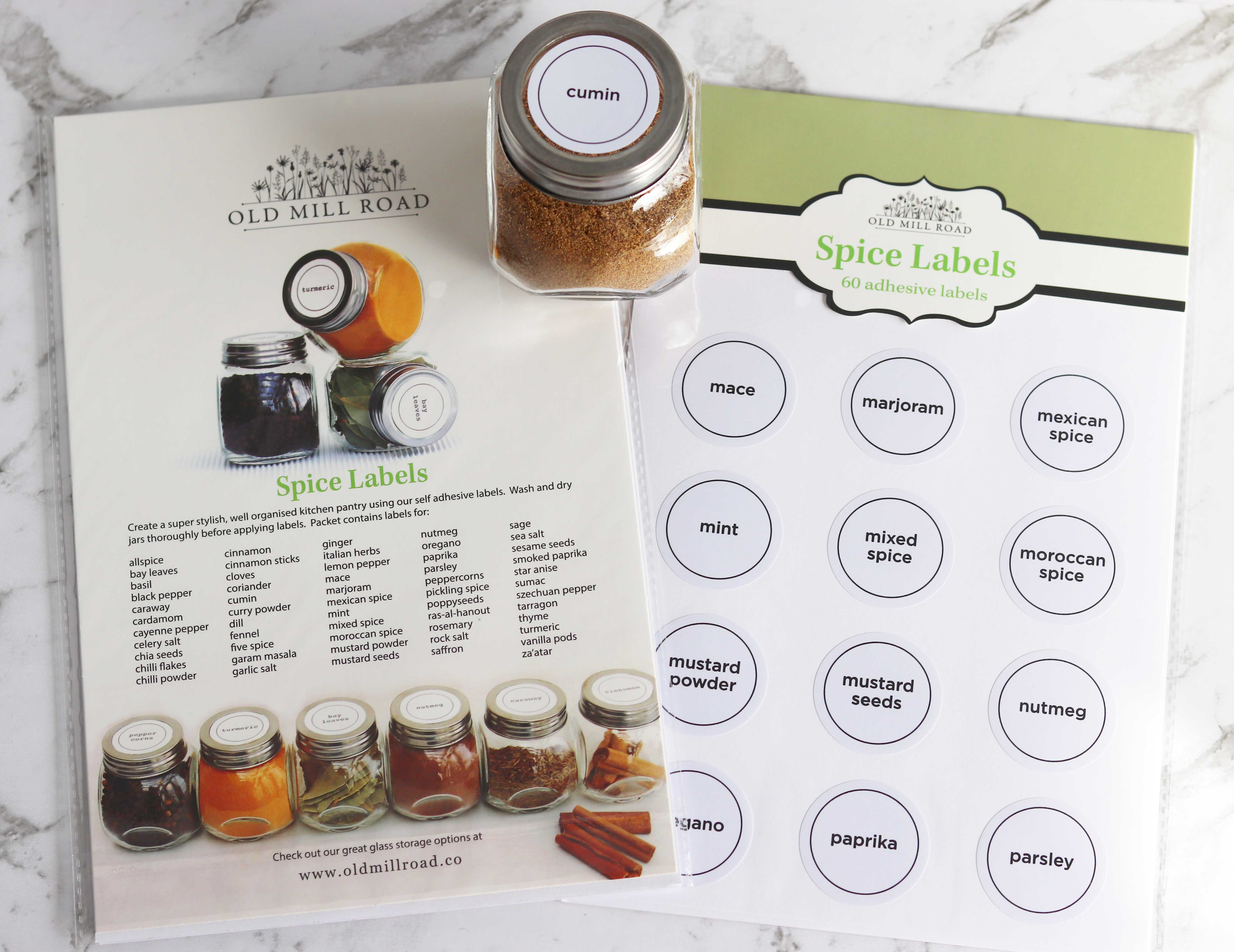 Spice Jar Labels Pack Of 60 Chef S Complements