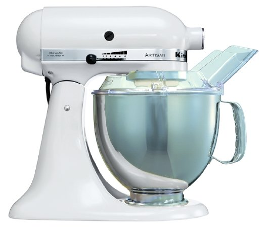 white artisan kitchenaid cake mixer