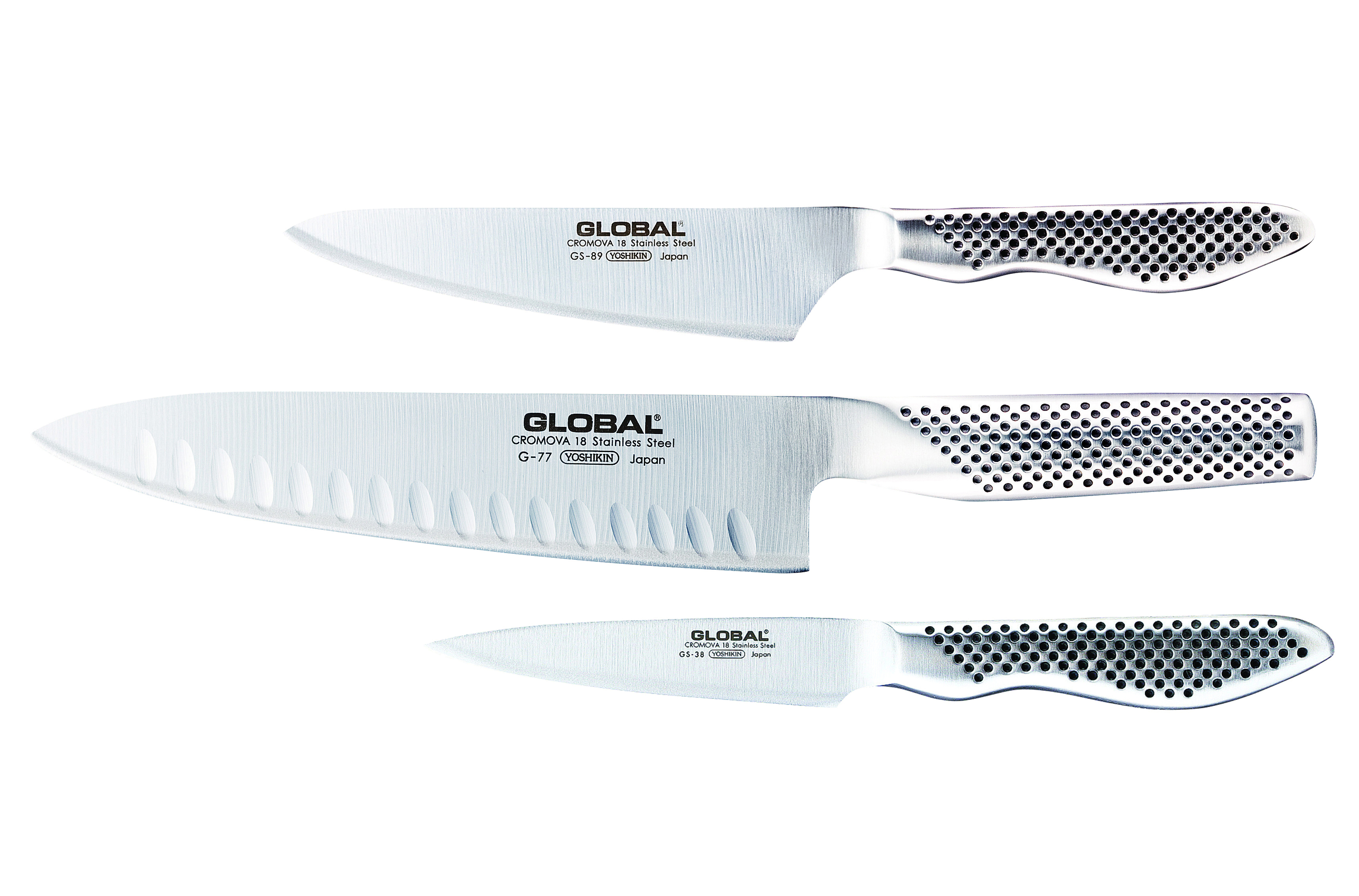 Global G-773889 3 Piece Kitchen Knife Set