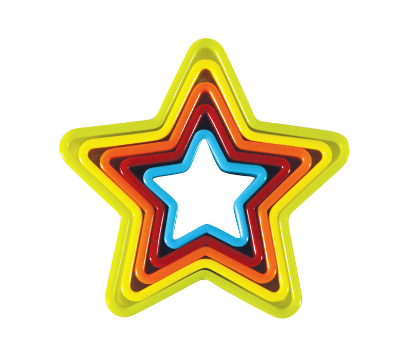 avanti mullti-coloured plastic star shaped cookie cutter set