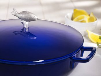 staub bouillabaisse cast iron pot blue