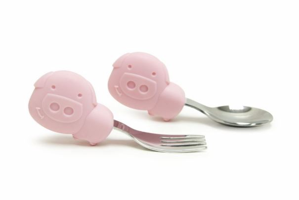 Palm Grasp Spoon and Fork Set Pig