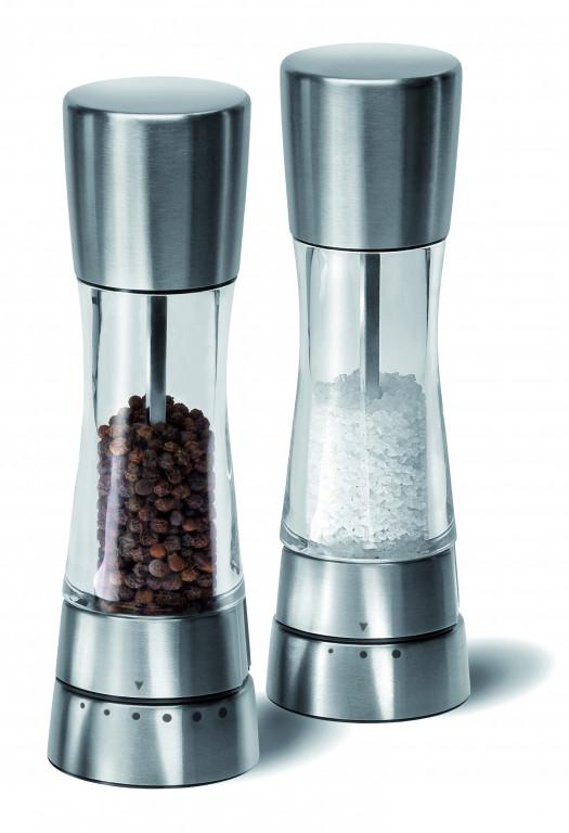 31224 - Derwent Salt and Pepper Mills - Silver & Clear LS4