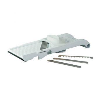 79921 Benriner Vegetable Slicer 95mm, (Thickness 0.3mm) with 5mm Interchange Blades - White