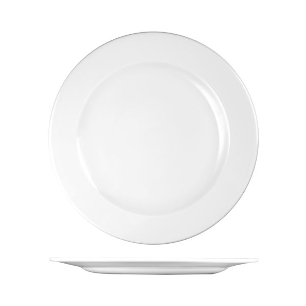 churchill profile wide rim white plate