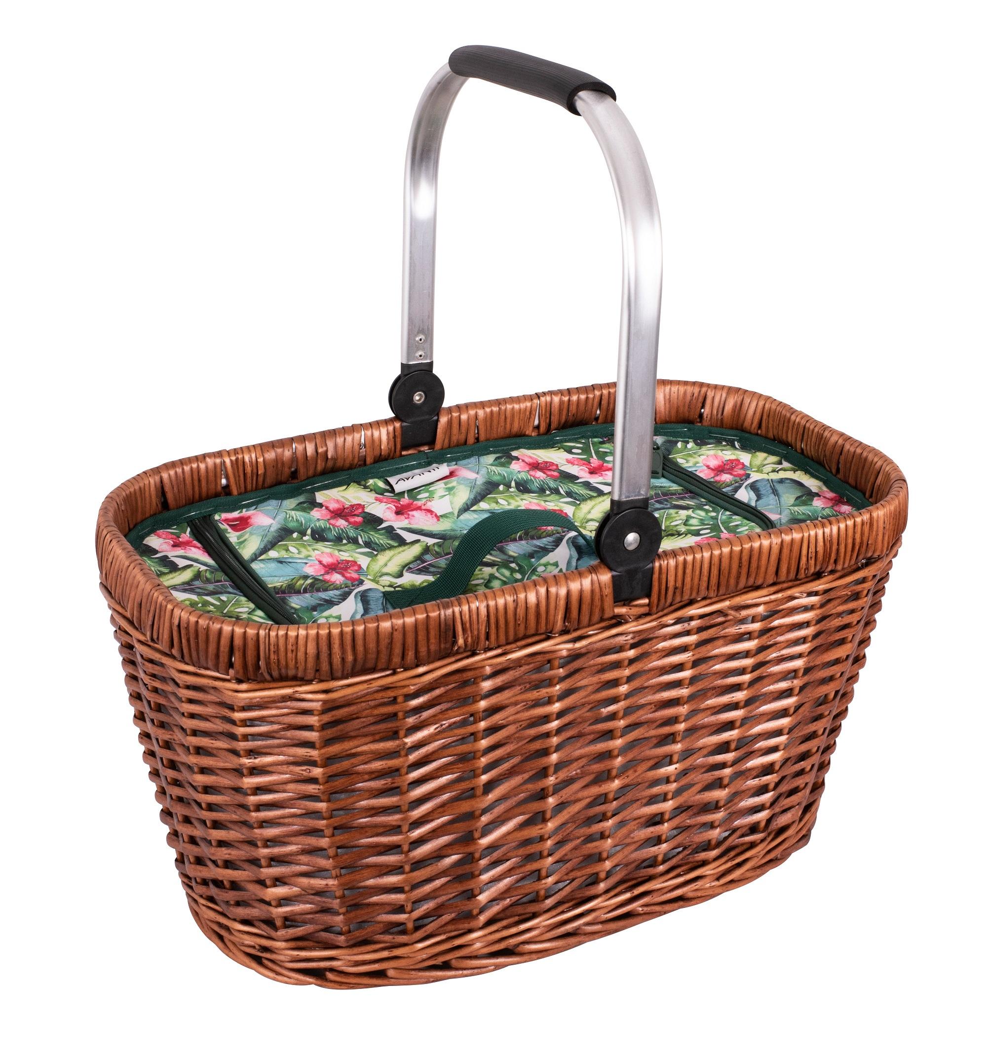 hibiscus patterened picnic basket