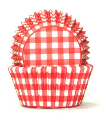 red gingham baking cases