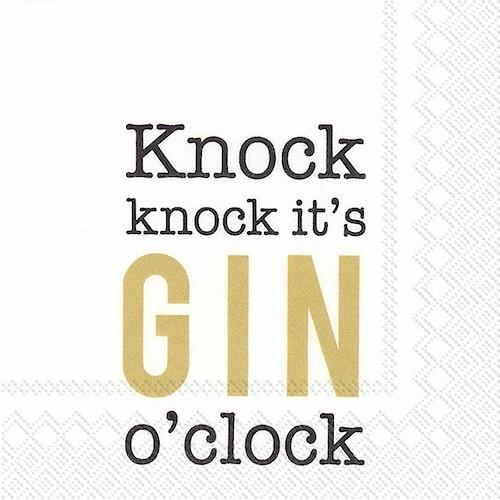 C798809 IHR Cocktail Napkin Knock It's Gin O'Clock