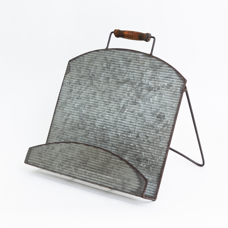 rustic galvanised cookbook stand