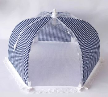 gingham blue food cover